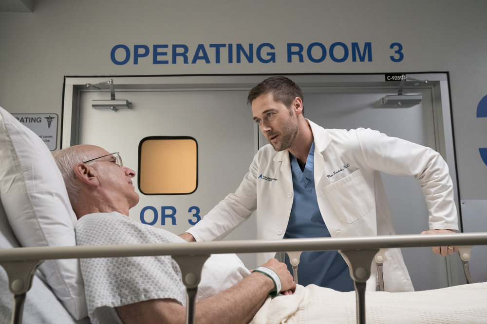 George Wyner and Ryan Eggold in New Amsterdam (2018)