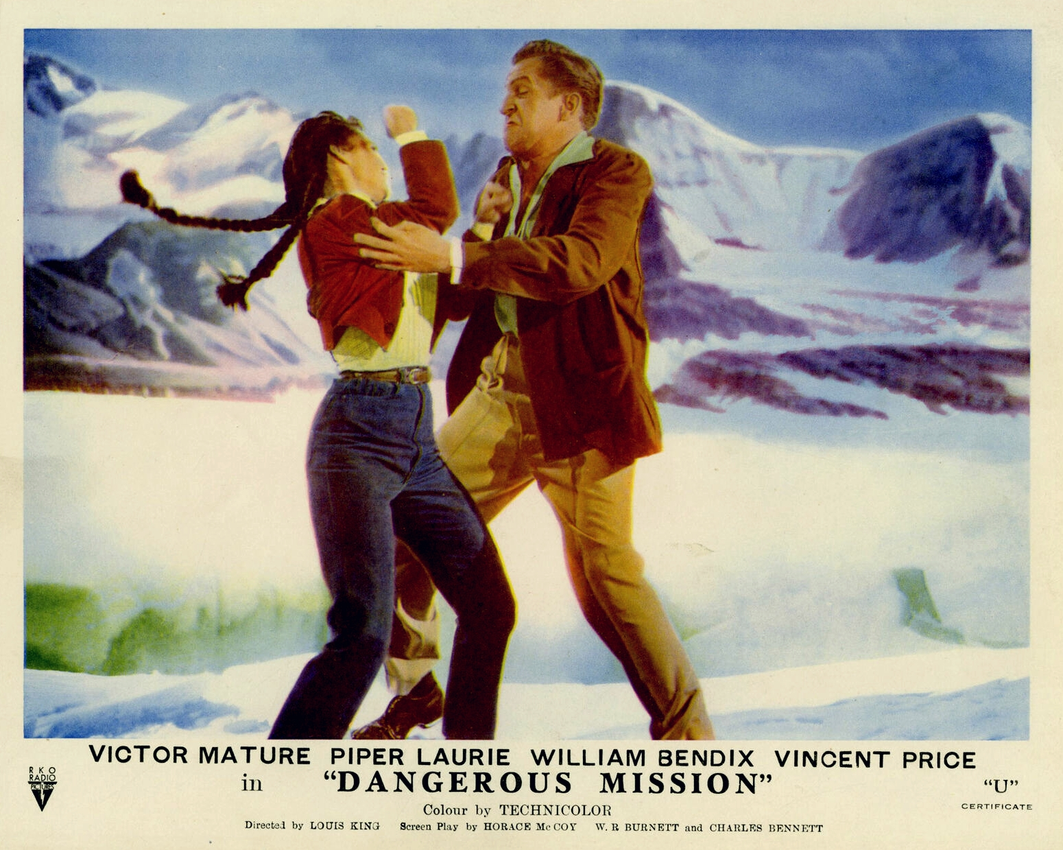 Piper Laurie, Vincent Price, and Betta St. John in Dangerous Mission (1954)