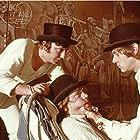 Malcolm McDowell, Warren Clarke, and James Marcus in A Clockwork Orange (1971)