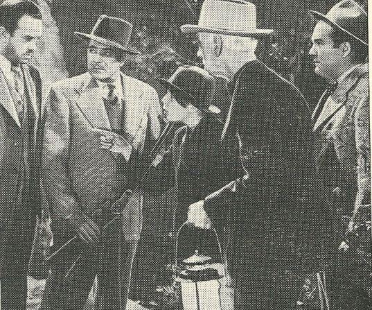 Paul Guilfoyle, Warner Baxter, Clem Bevans, and Mark Dennis in The Millerson Case (1947)