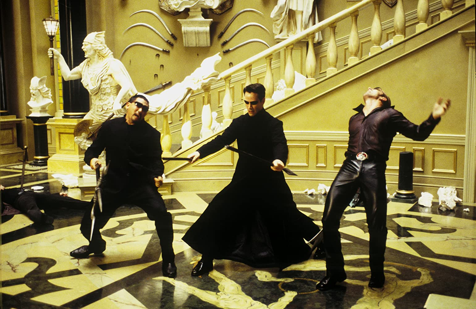 Keanu Reeves and Ousaun Elam in The Matrix Reloaded (2003)