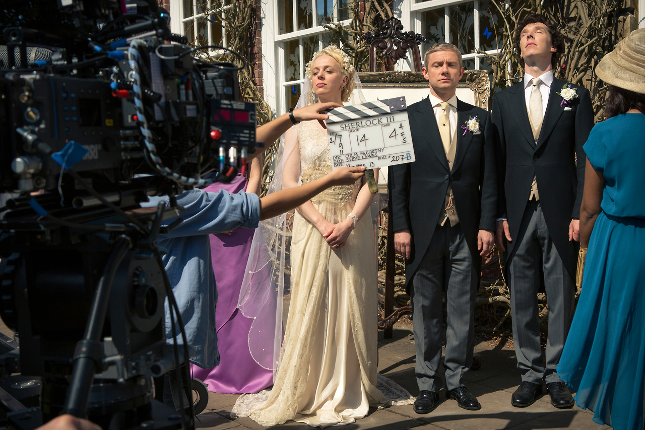 Amanda Abbington Martin Freeman And Benedict Cumberbatch In Sherlock 2010