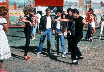 """Grease"" Kelly Ward, Olivia Newton-John, John Travolta, Michael Tucci, Barry Pearl"