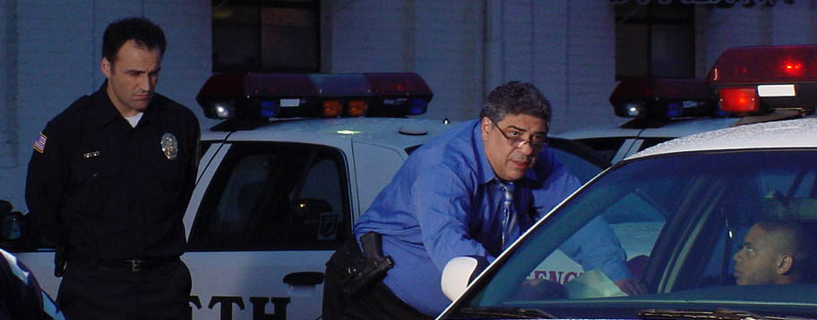 """Sal Rendino, with co-stars Vincent Pastore and J.D. Williams, on the set of """"Code Blue""""."""