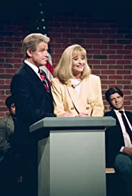 Phil Hartman as Bill Clinton, Jan Hooks as Hillary Clinton during the 'Nightline' skit on September 26, 1992