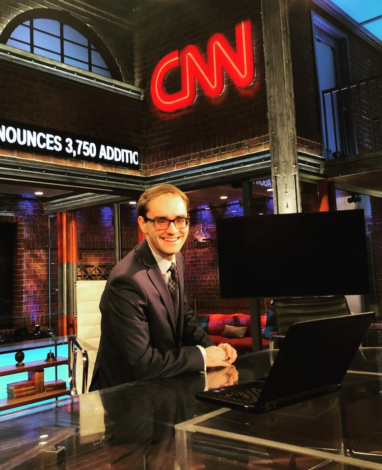 Andrew McKeough visits CNN in February of 2019