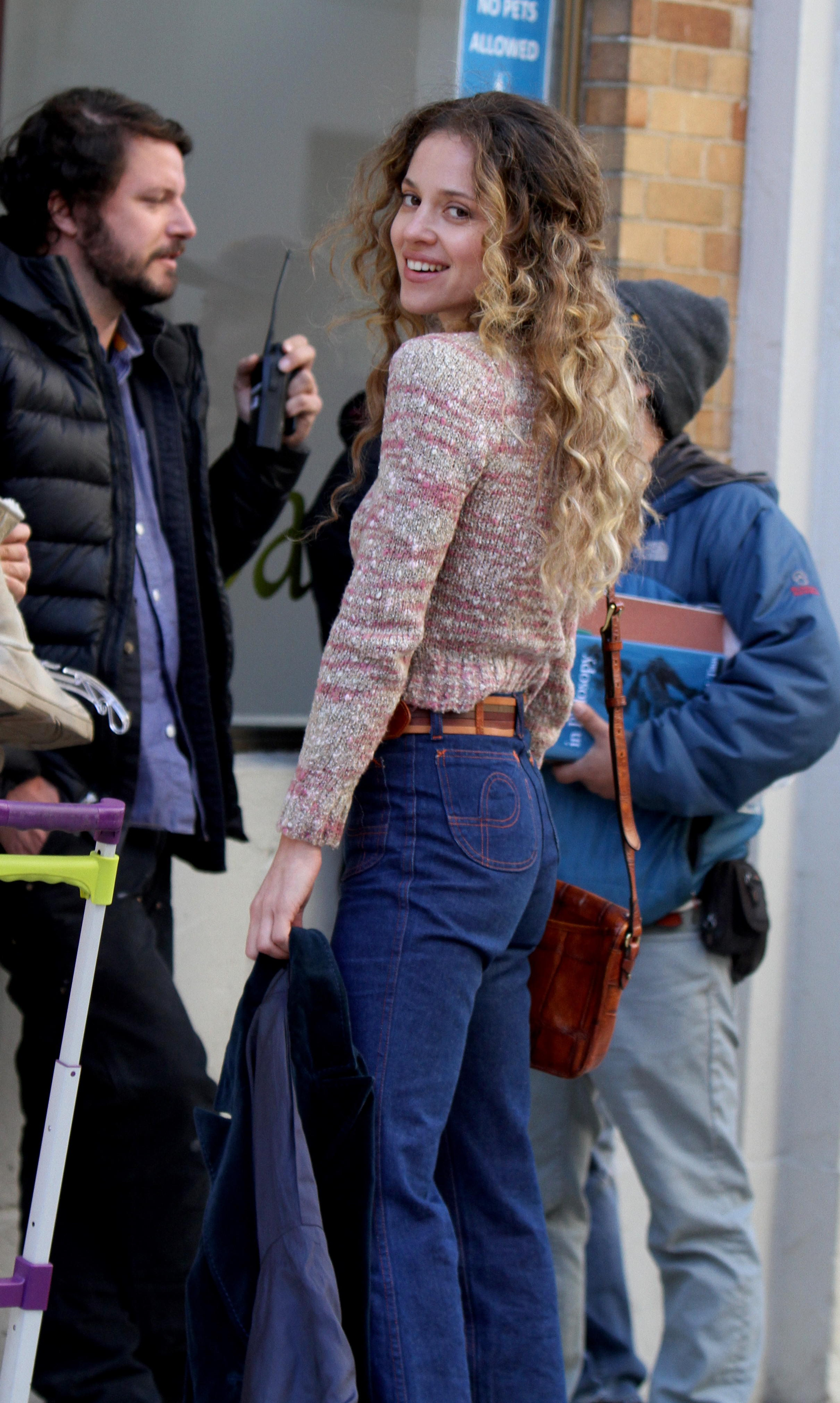"""Margarita Levieva pictured filming a scene at """"The Deuce"""" movie set in Downtown, Manhattan"""