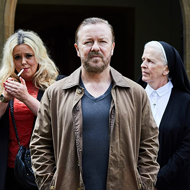Julia Dearden, Ricky Gervais, and Roisin Conaty in After Life (2019)