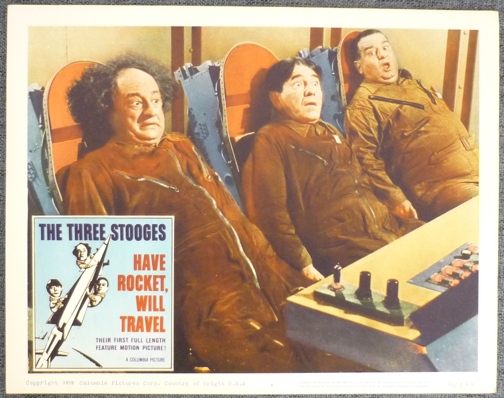 Moe Howard, Larry Fine, and Joe DeRita in Have Rocket -- Will Travel (1959)