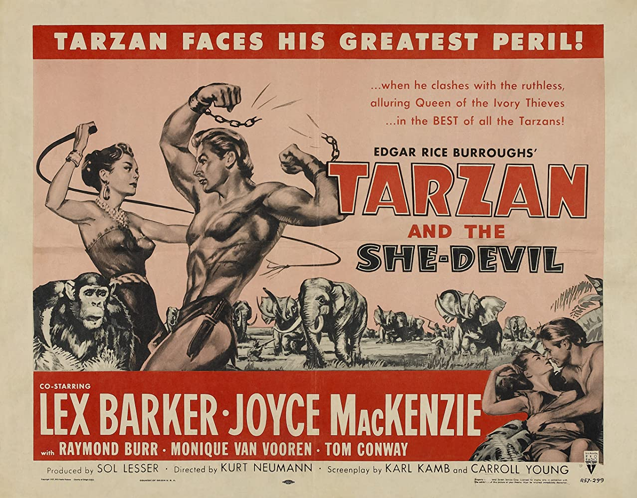 Lex Barker, Joyce Mackenzie, and Monique van Vooren in Tarzan and the She-Devil (1953)