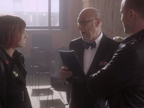 Aaron Ashmore, Yank Azman, and Allison Scagliotti in Warehouse 13 (2009)
