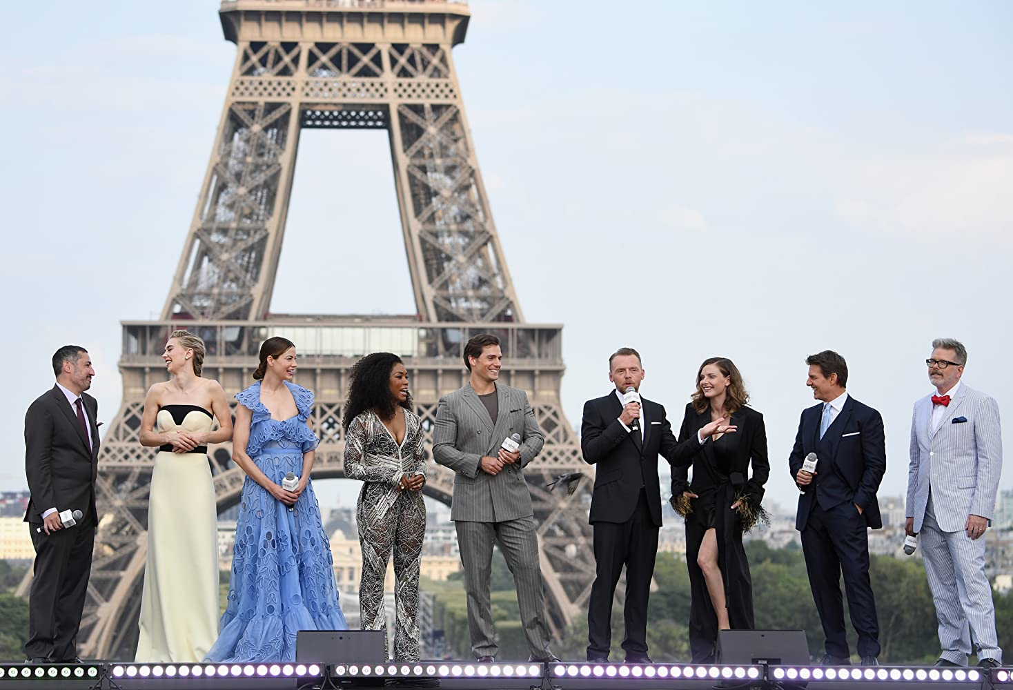 Tom Cruise, Angela Bassett, Christopher McQuarrie, Henry Cavill, Rebecca Ferguson, Jake Myers, Simon Pegg, Michelle Monaghan, and Vanessa Kirby at an event for Mission: Impossible - Fallout (2018)