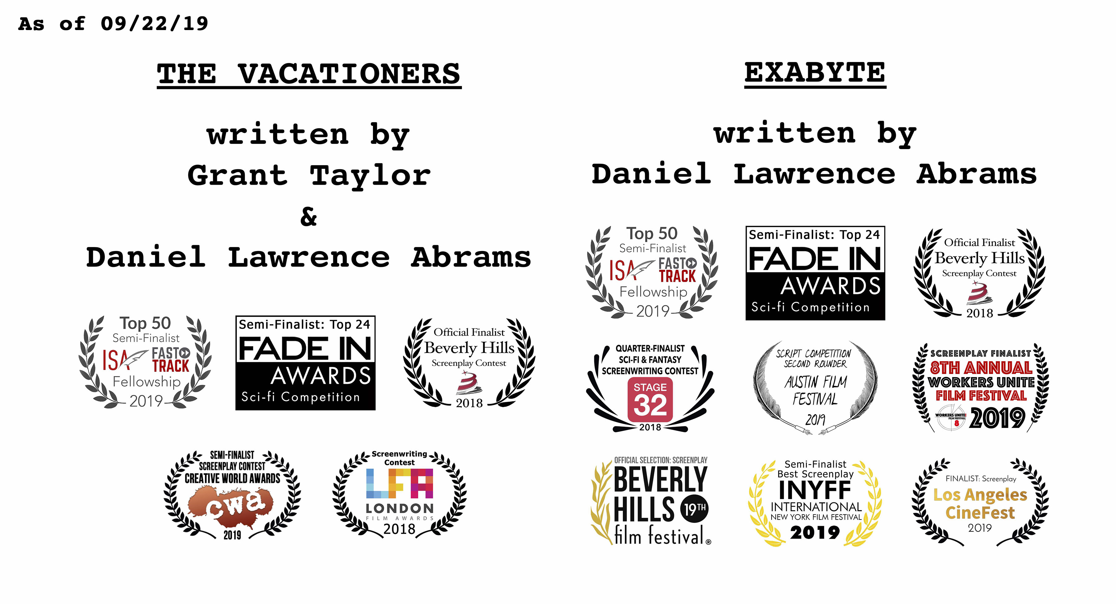 Screenplay accolades/laurels for EXABYTE (written by Daniel Lawrence Abrams) and THE VACATIONERS (written by Grant Taylor & Daniel Lawrence Abrams) as of September 22, 2019.