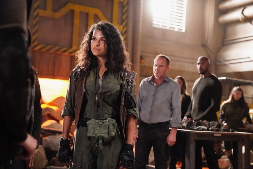 Henry Simmons, Clark Gregg, Eve Harlow, and Michelle Toh in Agents of S.H.I.E.L.D. (2013)