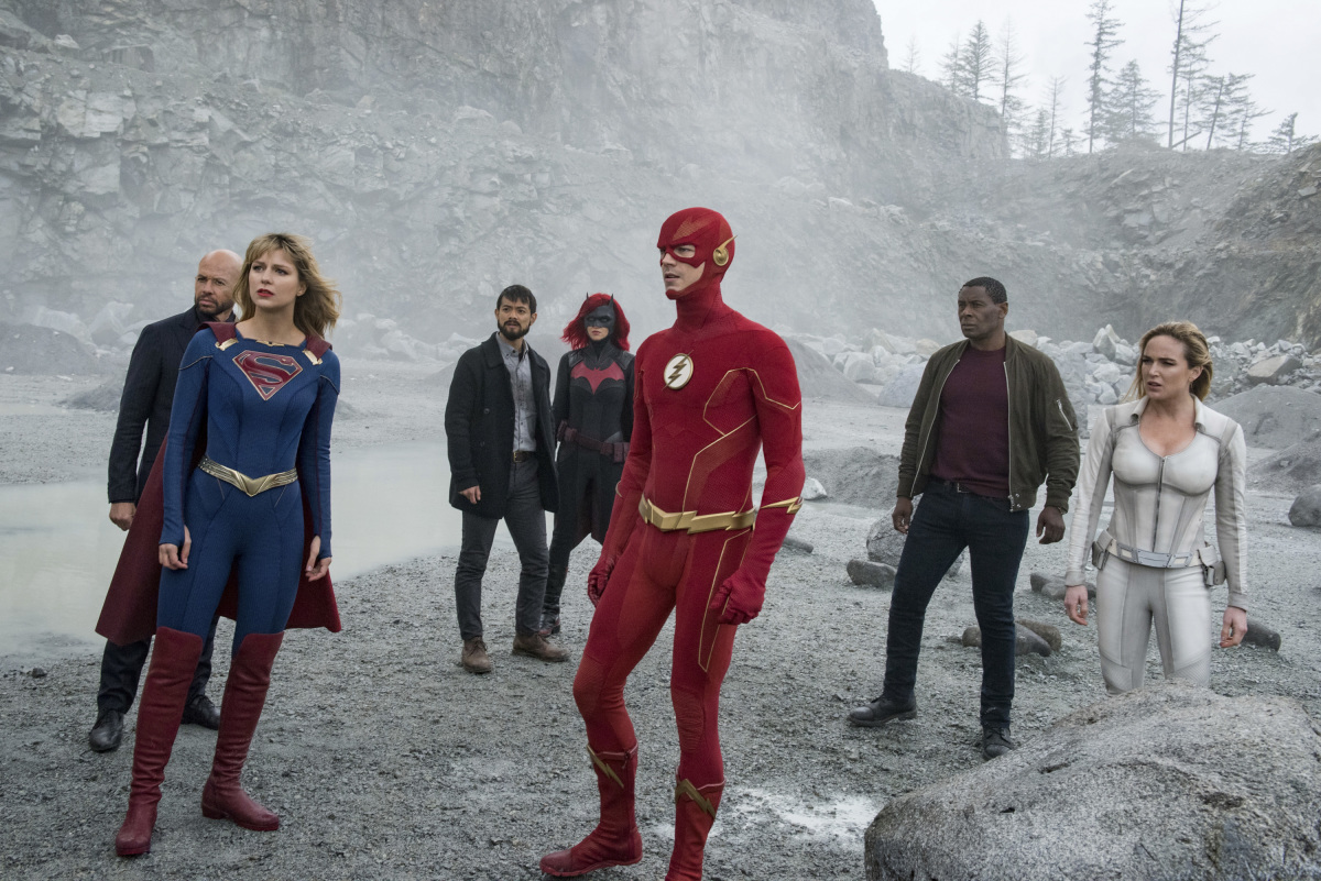 Jon Cryer, David Harewood, Osric Chau, Caity Lotz, Melissa Benoist, Grant Gustin, and Ruby Rose in Arrow (2012)