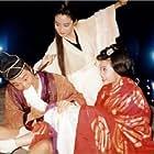 Stephen Chow, Brigitte Lin, and Chingmy Yau in Luk ting kei II: San lung gau (1992)