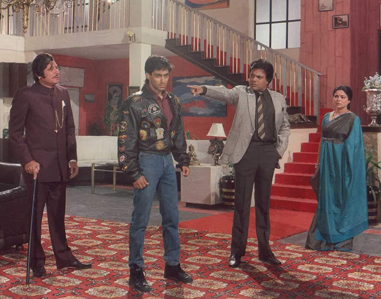 Salman Khan, Reema Lagoo, Ajit Vachani, and Rajeev Verma in Maine Pyar Kiya (1989)