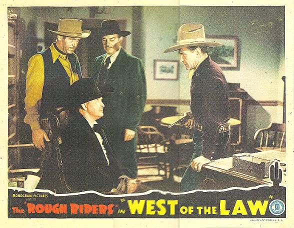 Tim McCoy, Roy Barcroft, Buck Jones, and Harry Woods in West of the Law (1942)