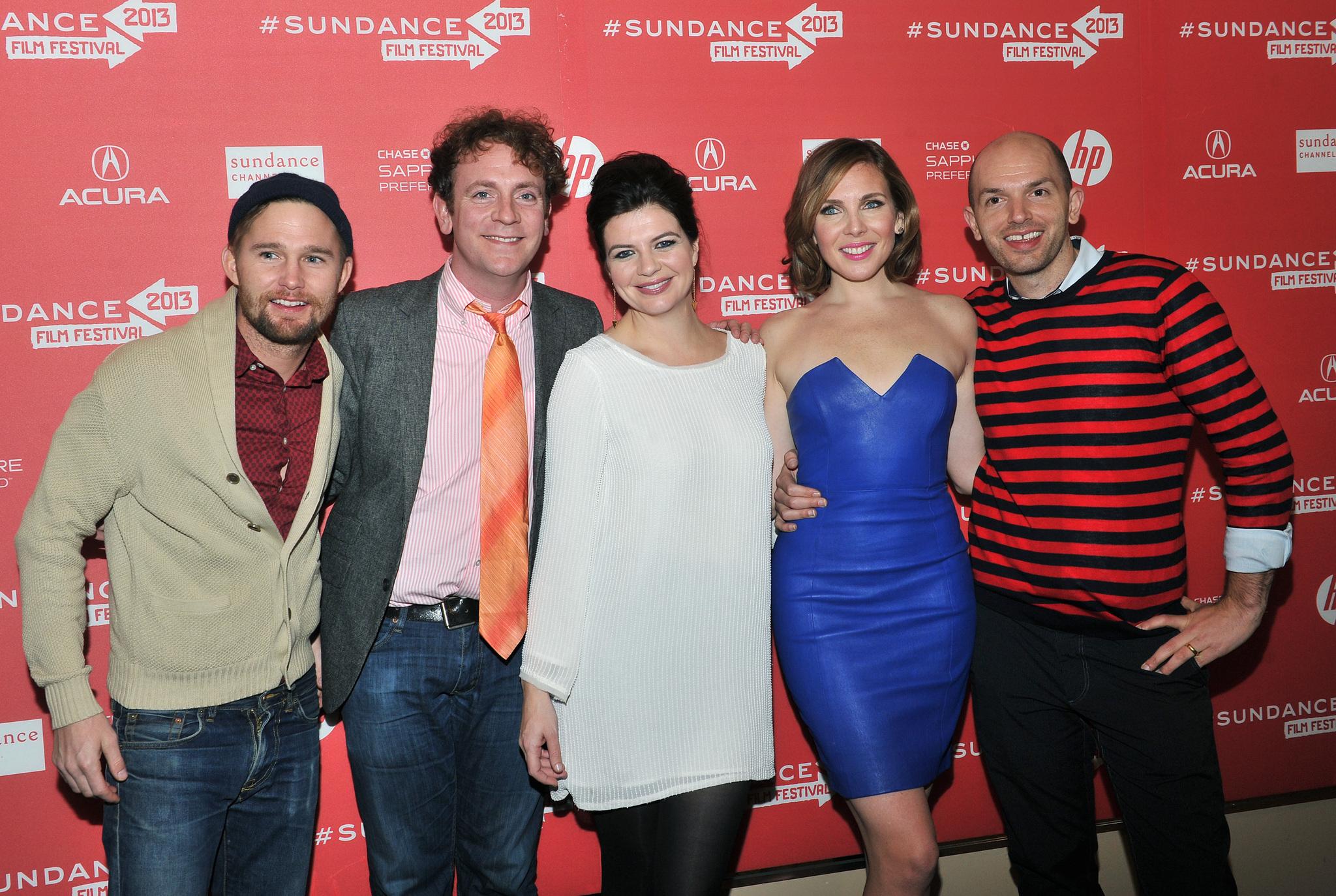Drew Droege, Paul Scheer, Brian Geraghty, Casey Wilson, and June Diane Raphael at an event for Ass Backwards (2013)