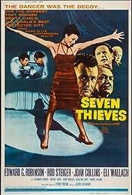 Edward G. Robinson, Joan Collins, Rod Steiger, Sebastian Cabot, Michael Dante, Berry Kroeger, Alexander Scourby, and Eli Wallach in Seven Thieves (1960)