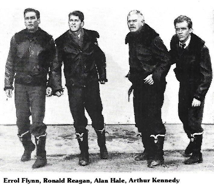 Errol Flynn, Ronald Reagan, Alan Hale, and Arthur Kennedy in Desperate Journey (1942)