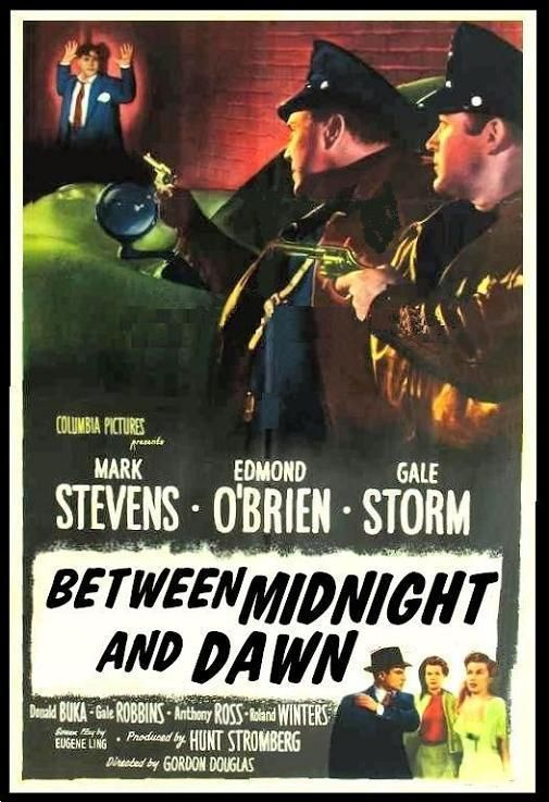 Donald Buka, Edmond O'Brien, Gale Robbins, Mark Stevens, and Gale Storm in Between Midnight and Dawn (1950)
