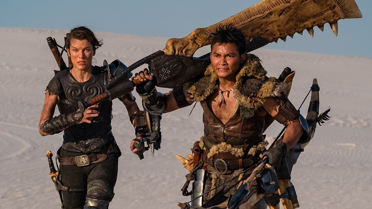 Milla Jovovich and Tony Jaa in Monster Hunter (2020)