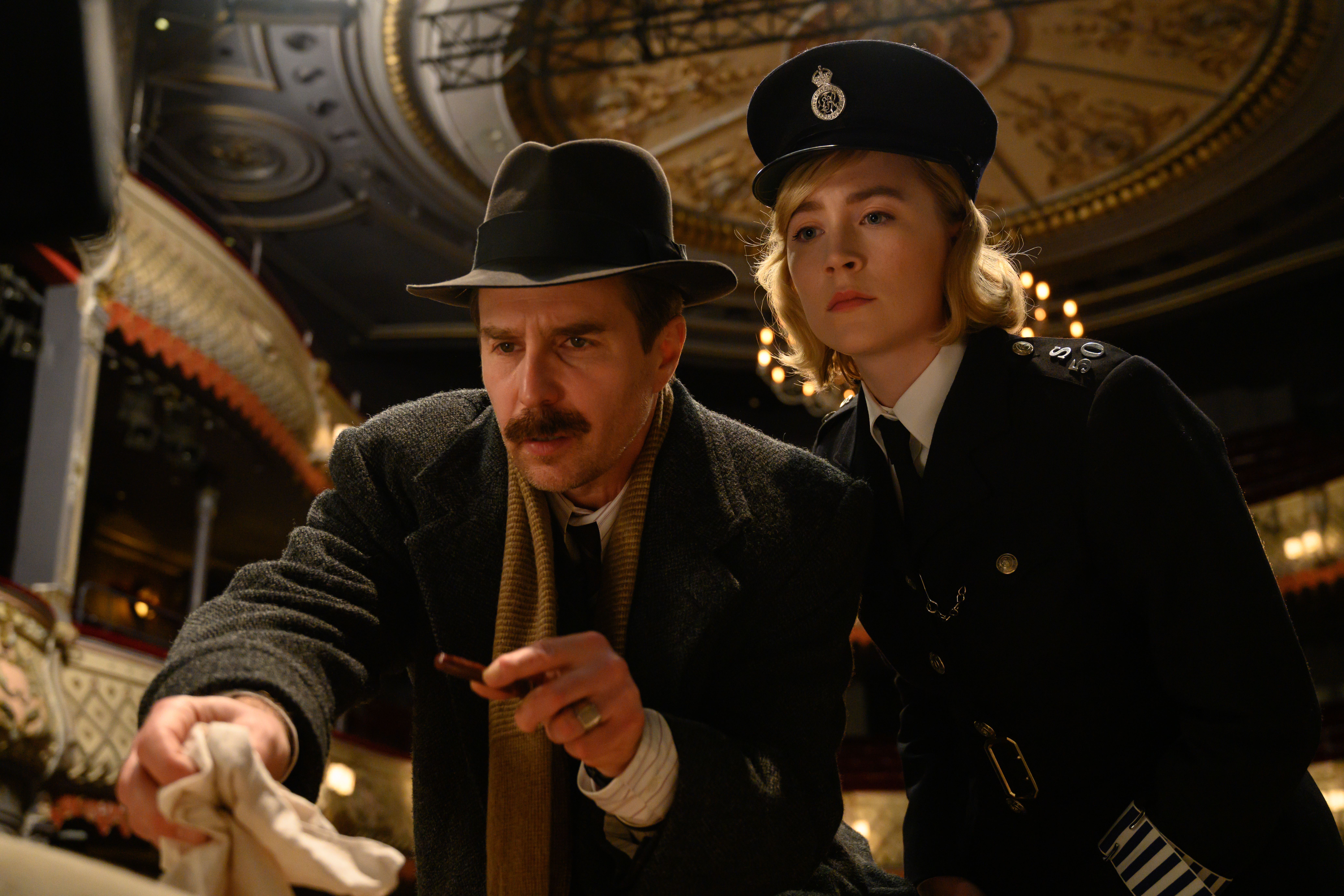 Sam Rockwell and Saoirse Ronan in See How They Run (2022)