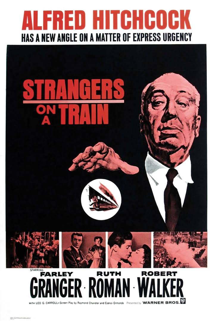 Alfred Hitchcock, Farley Granger, Ruth Roman, and Robert Walker in Strangers on a Train (1951)