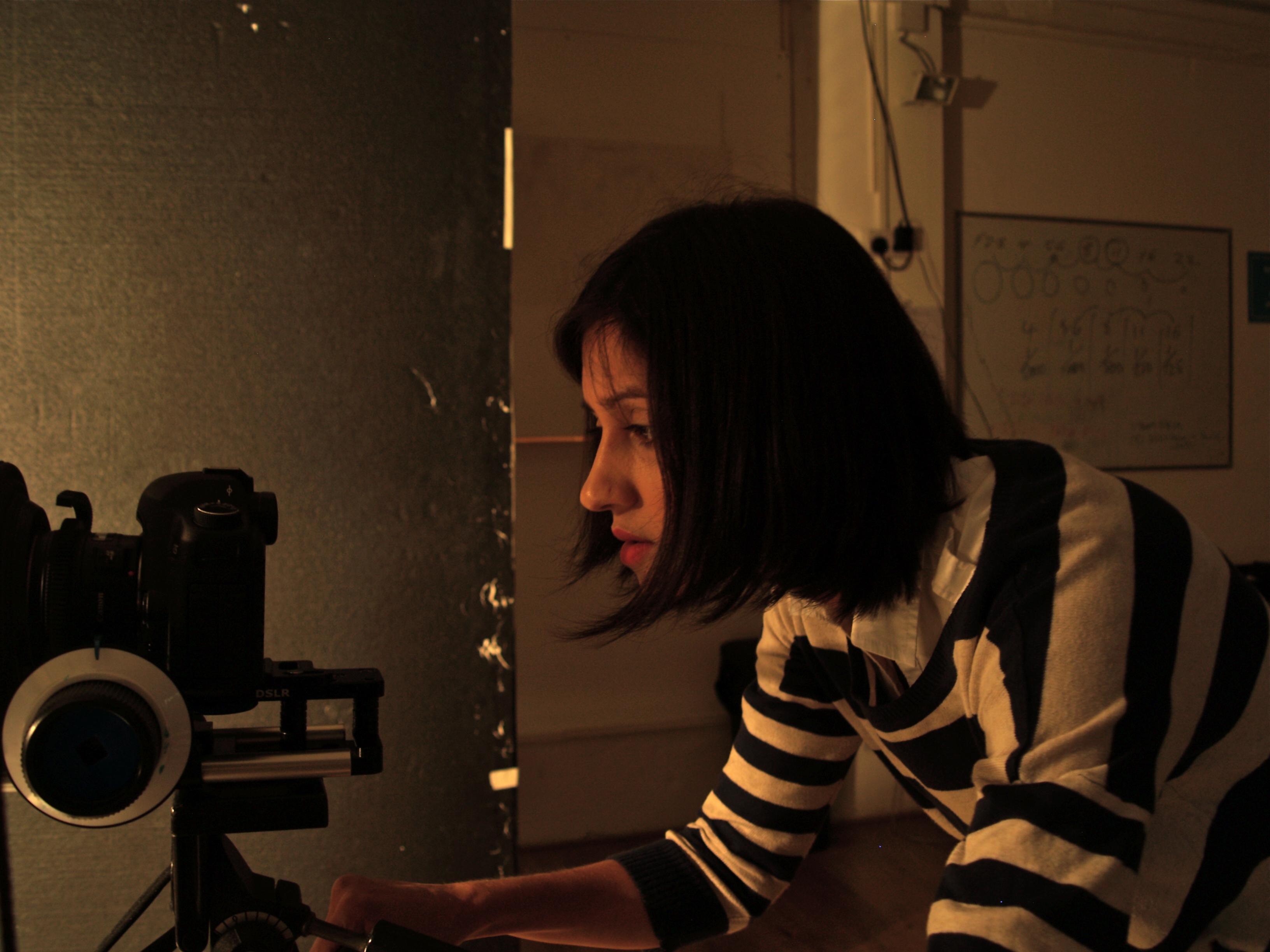 Manjinder Virk on set of short film, Out of Darkness. 2012.
