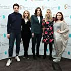 Juno Temple, Edith Bowman, Amanda Berry, Josh O'Connor, and Florence Pugh at an event for The EE British Academy Film Awards (2018)