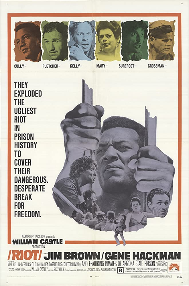 Gene Hackman, Jim Brown, Ben Carruthers, and Gerald S. O'Loughlin in Riot (1969)