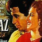 Nargis, Raj Kapoor, and Dilip Kumar in Andaz (1949)