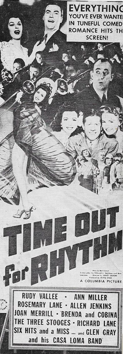 Glen Gray, Allen Jenkins, Rosemary Lane, Joan Merrill, Ann Miller, and Rudy Vallee in Time Out for Rhythm (1941)