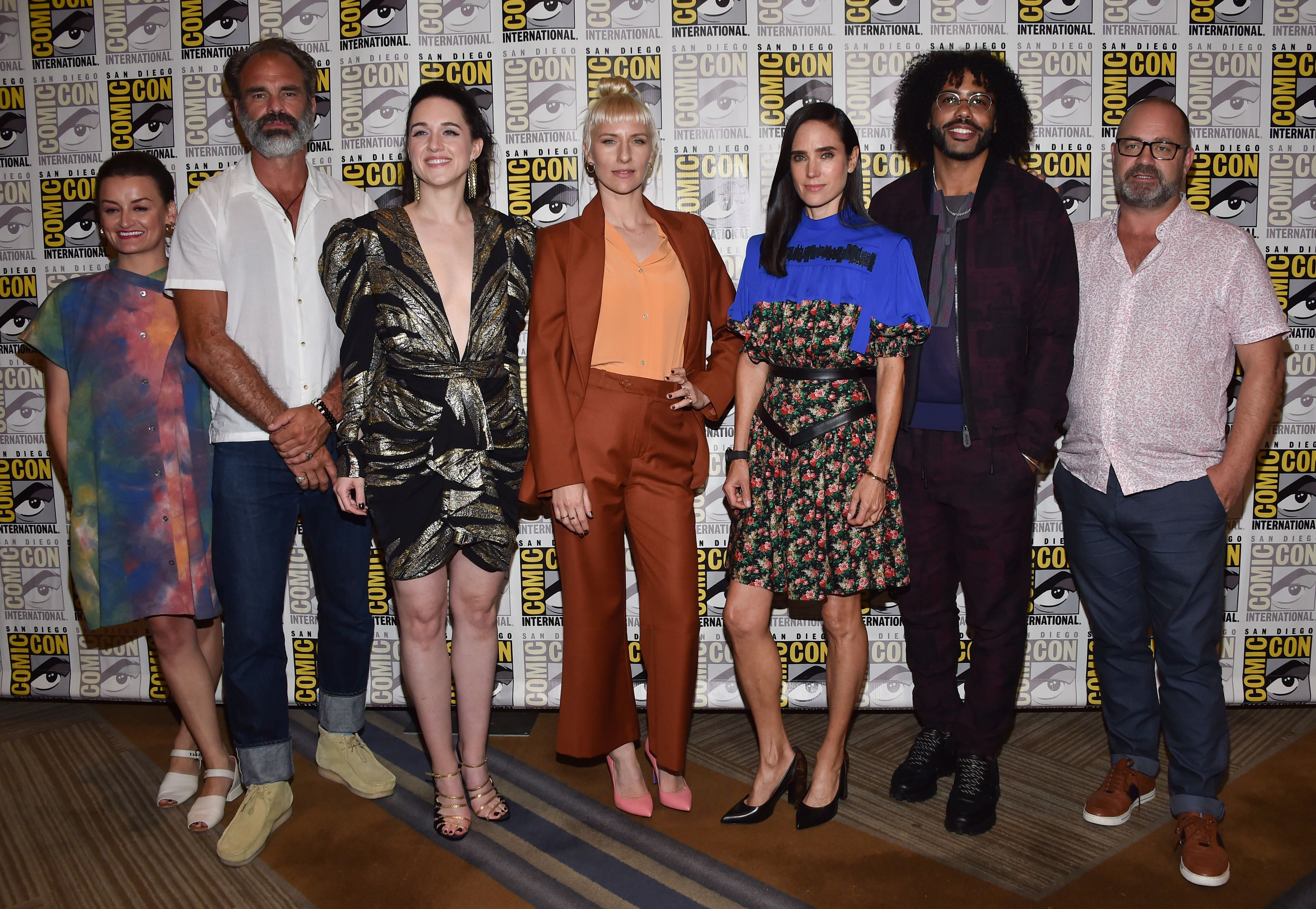 Jennifer Connelly, Graeme Manson, Steven Ogg, Alison Wright, Mickey Sumner, Lena Hall, and Daveed Diggs at an event for Snowpiercer (2020)