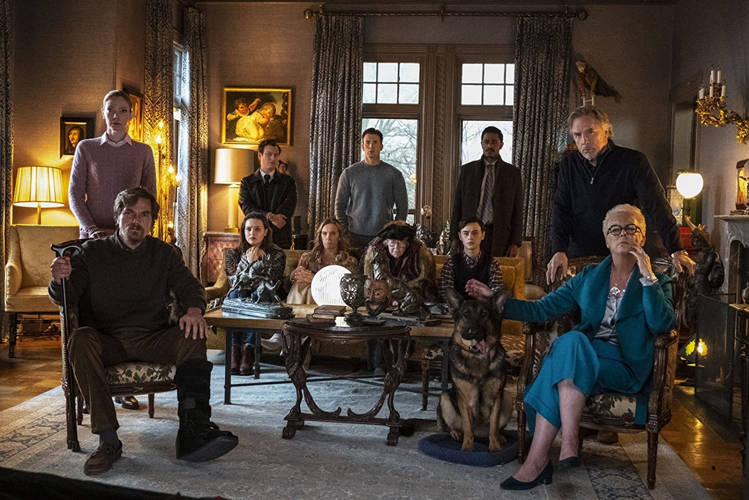Jamie Lee Curtis, Don Johnson, Toni Collette, Chris Evans, Noah Segan, Michael Shannon, Riki Lindhome, LaKeith Stanfield, Jaeden Martell, and Katherine Langford in Knives Out (2019)
