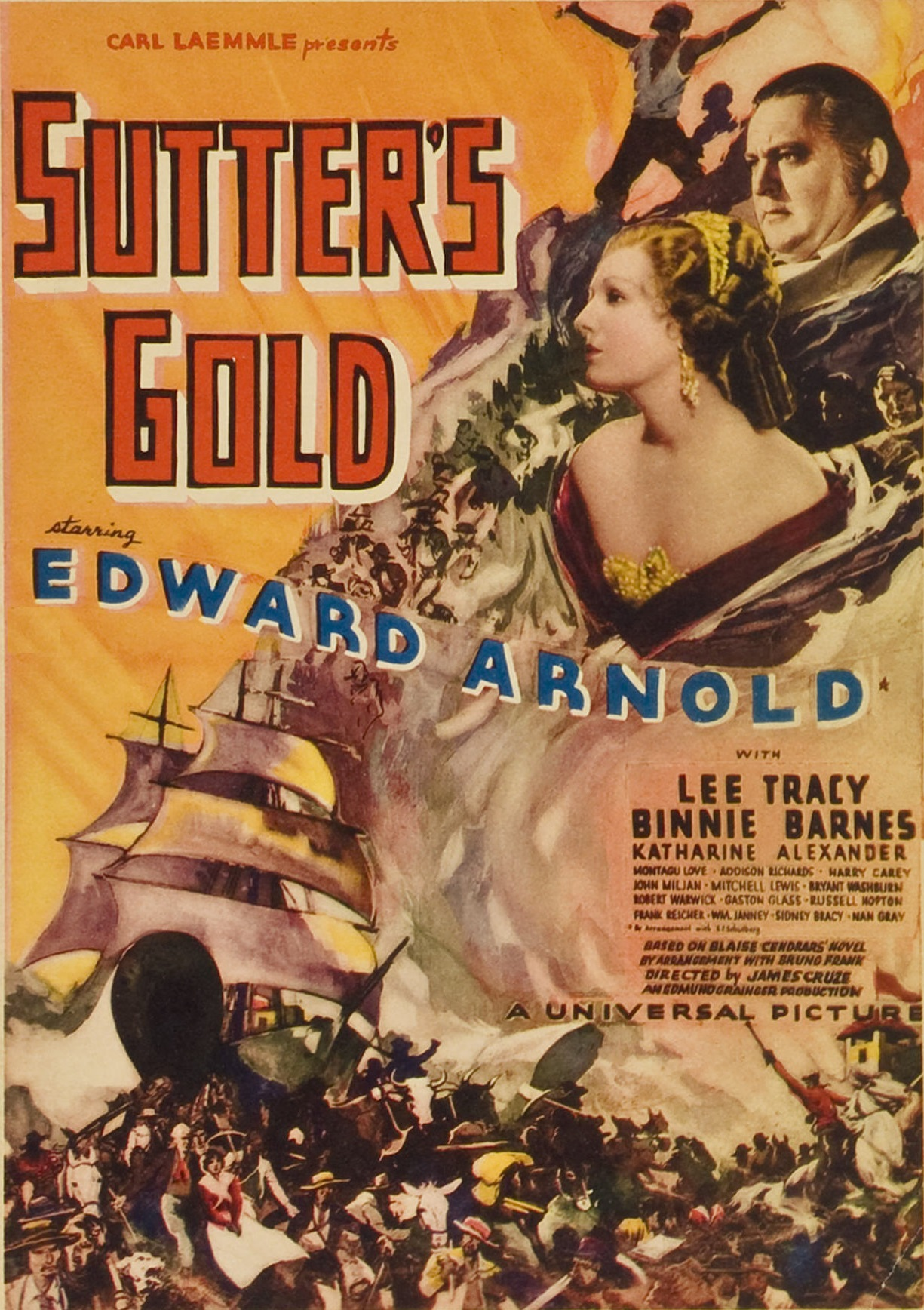 Binnie Barnes and Edward Arnold in Sutter's Gold (1936)