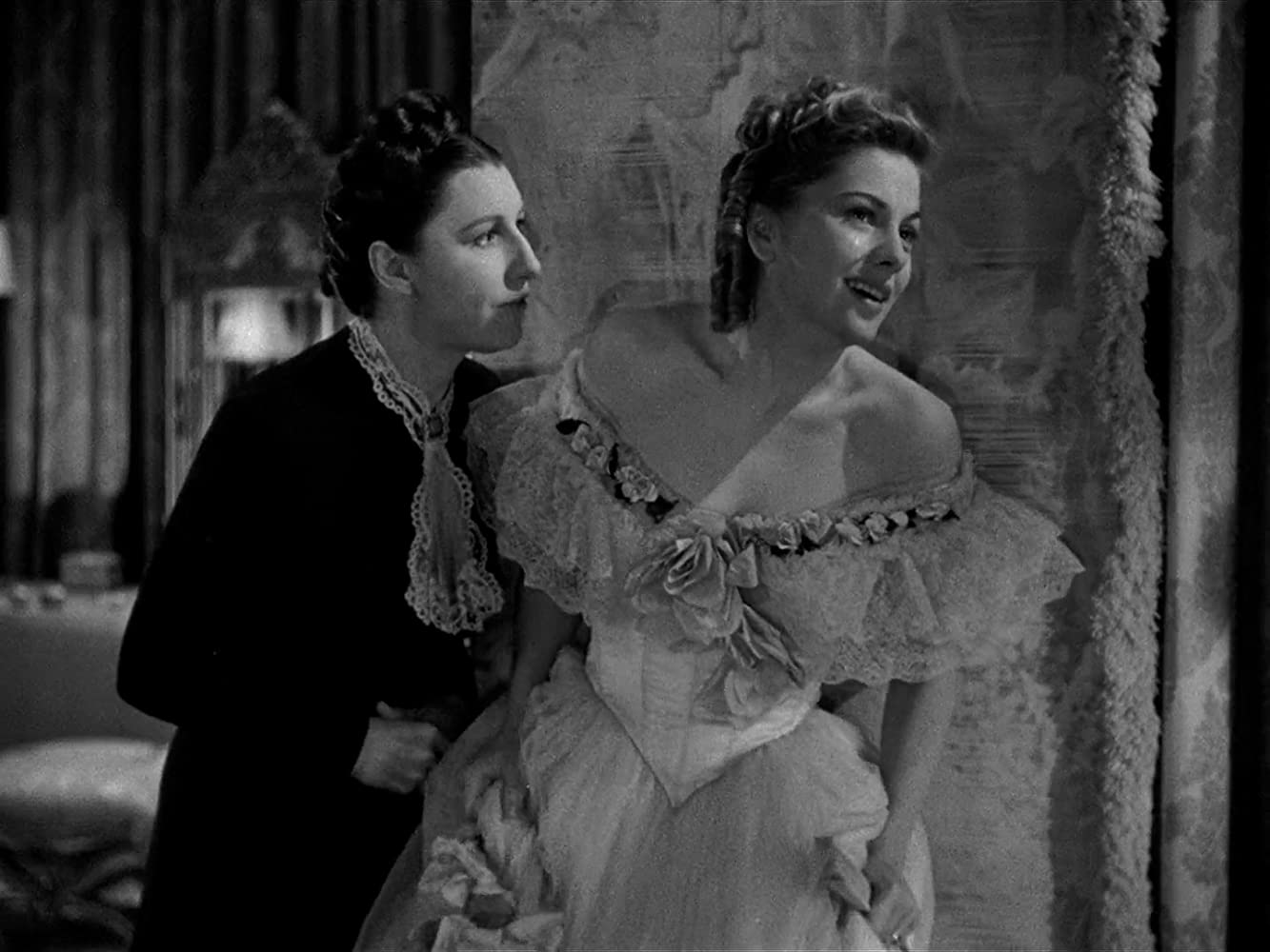 Joan Fontaine and Judith Anderson in Rebecca (1940)
