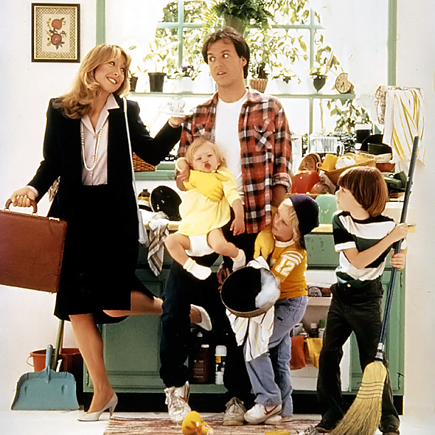 Teri Garr, Michael Keaton, Taliesin Jaffe, and Frederick Koehler in Mr. Mom (1983)