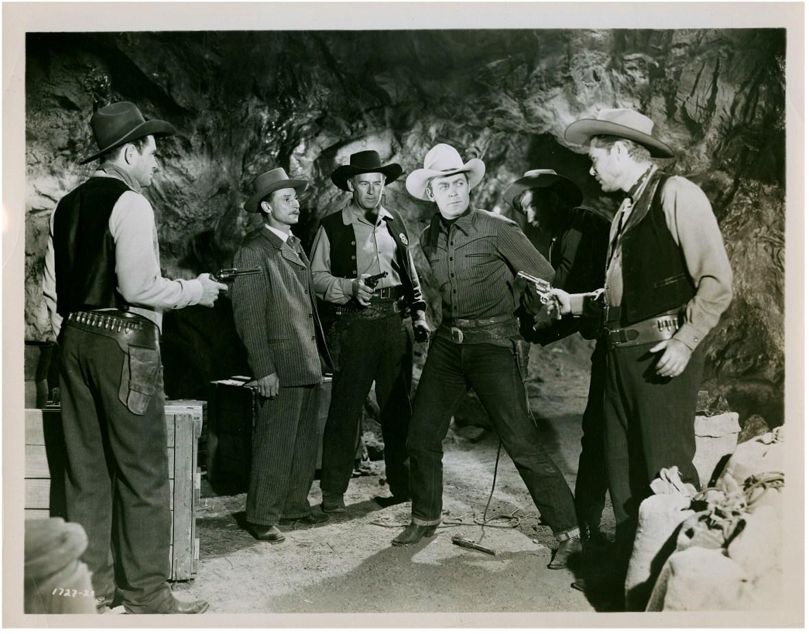 Roy Barcroft, Byron Foulger, Myron Healey, Allan Lane, and Clifton Young in Salt Lake Raiders (1950)