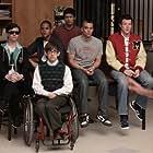 Lea Michele, Mark Salling, Dijon Talton, Harry Shum Jr., Cory Monteith, Kevin McHale, and Chris Colfer in Glee (2009)
