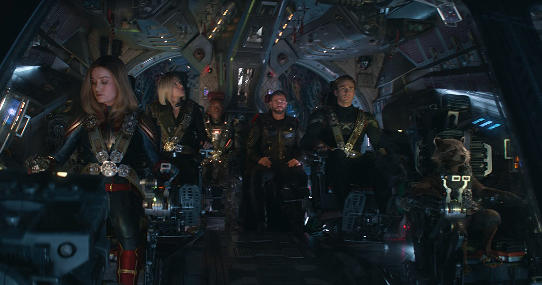 Don Cheadle, Bradley Cooper, Chris Evans, Scarlett Johansson, Brie Larson, and Chris Hemsworth in Avengers: Endgame (2019)