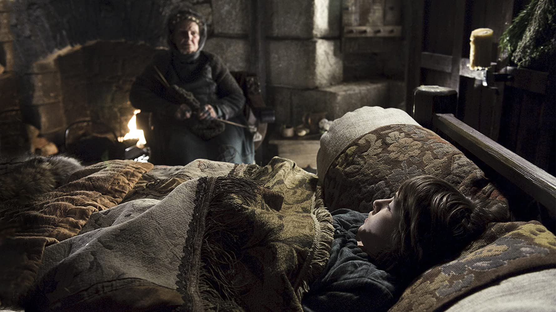 Margaret John and Isaac Hempstead Wright in Game of Thrones (2011)