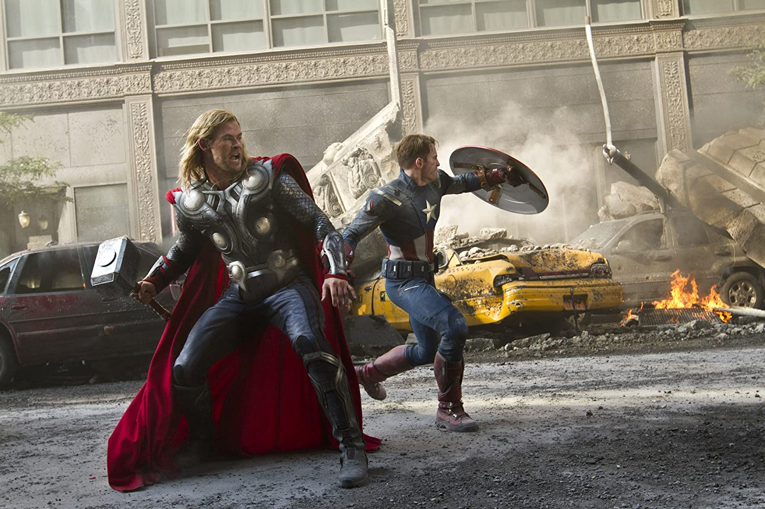 Chris Evans and Chris Hemsworth in The Avengers (2012)