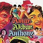 Amitabh Bachchan, Parveen Babi, Rishi Kapoor, Vinod Khanna, Pran, and Ranjeet in Amar Akbar Anthony (1977)