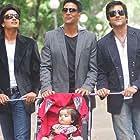 Fardeen Khan, Akshay Kumar, Riteish Deshmukh, and Juanna Sanghvi in Heyy Babyy (2007)
