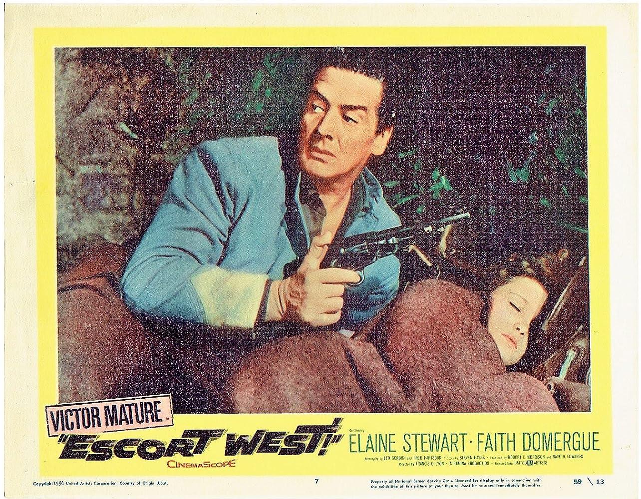 Victor Mature and Elaine Stewart in Escort West (1959)