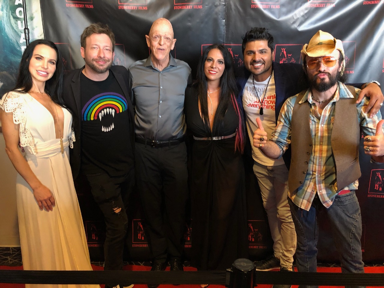 Erin Marie Garrett at Midnight Devils premiere with cast & crew including Michael Berryman and Billy Blair