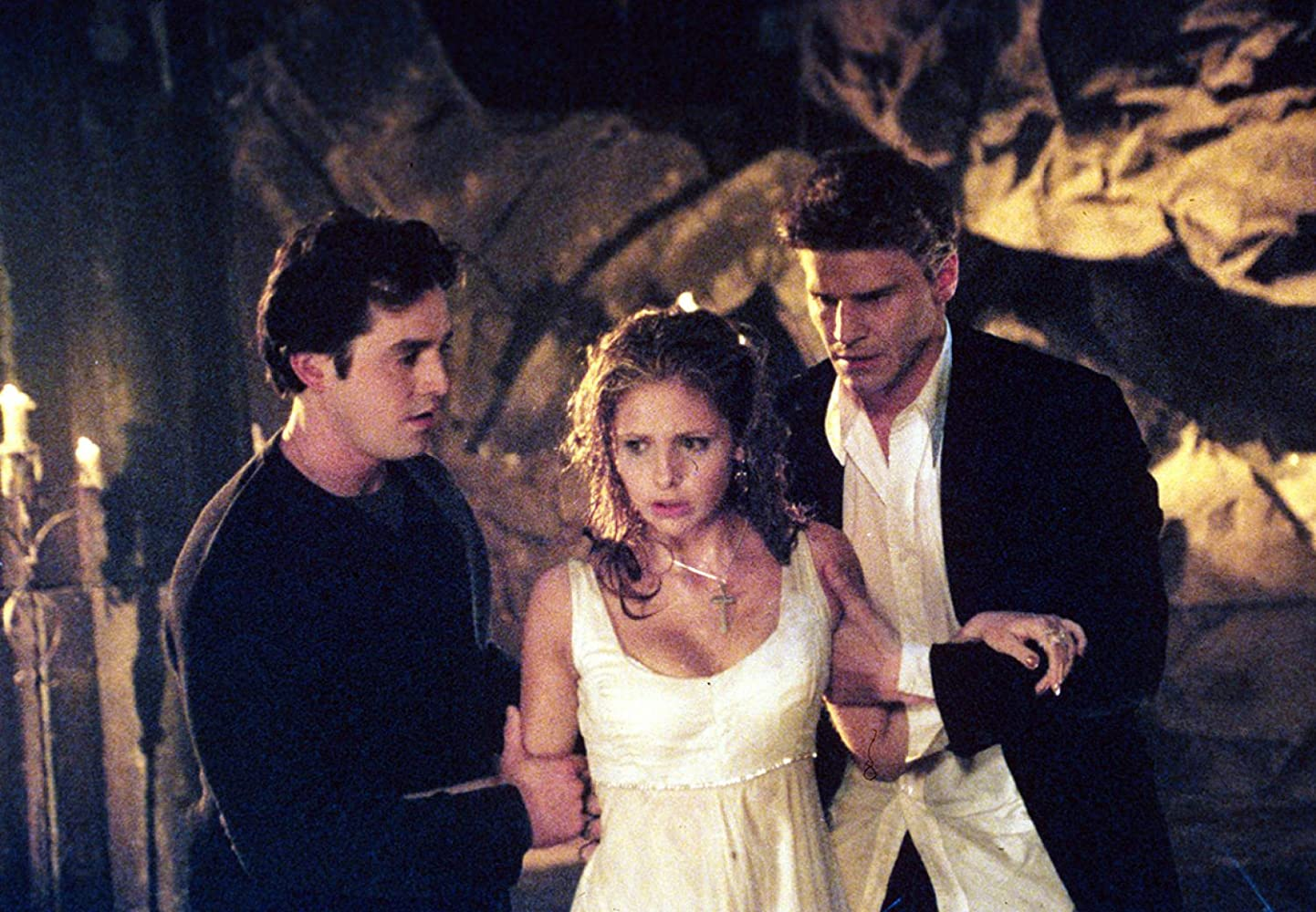Sarah Michelle Gellar, David Boreanaz, and Nicholas Brendon in Buffy the Vampire Slayer (1996)