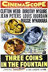 Rossano Brazzi, Louis Jourdan, Dorothy McGuire, Maggie McNamara, Jean Peters, and Clifton Webb in Three Coins in the Fountain (1954)